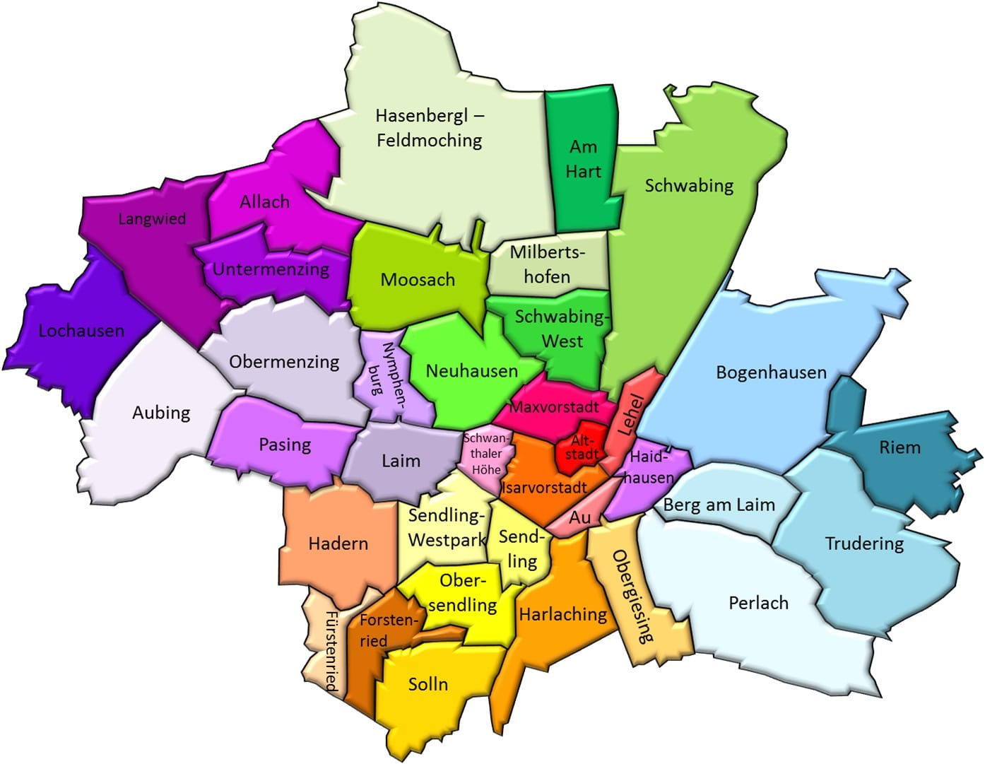 The most popular districts of Munich
